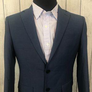 Calvin Klein 38S Blue Modern 2-Button Sports Coat